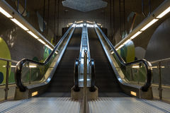 Two moving underground escalator in the subway Royalty Free Stock Photos