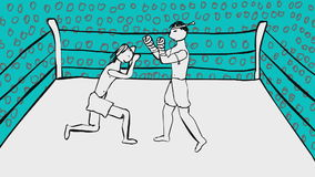 Two muai thai boxers fighting on a ring cartoon animation. Two muai thai boxers fighting on a ring cartoon style animation stock video