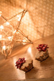 Two muffin with apples near Star light. Gift for Valentines day. Stock Photo