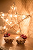 Two muffin with apples near Star light. Gift for Valentines day. Stock Image