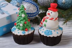 Two muffins Christmas Stock Photo