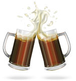 Two mugs with ale, dark beer. Mug with beer. Vector Royalty Free Stock Images