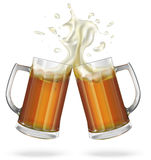 Two mugs with ale, light or dark beer. Mug with beer. Vector Royalty Free Stock Image