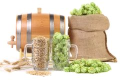 Two mugs with barley and hop. Stock Images