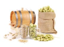 Two mugs with barley and hop. Royalty Free Stock Photos