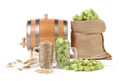 Two mugs with barley and hop. Stock Image