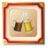 Two mugs of beer in the frame. Picture. Two mugs of beer in the frame Stock Photo