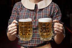 Two mugs of beer. royalty free stock photos