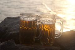 Two Mugs of Chilled Beer Stock Images
