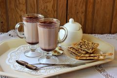 Two mugs with cocoa Stock Photo