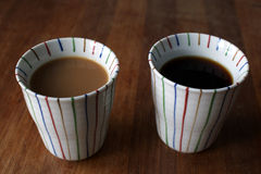 Two mugs of coffee Stock Photos