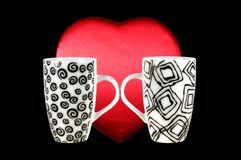 Two mugs of coffee with red heart Royalty Free Stock Photos