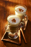 Two mugs of creamy cappuccino coffee Stock Photography