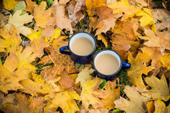 Two mugs of hot coffee Stock Photo