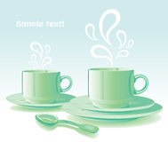 Two mugs with hot drinks Stock Images