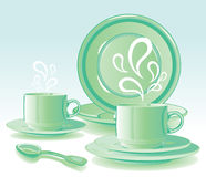 Two mugs with hot drinks. On a saucer and spoon vector illustration