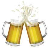 Two mugs with a light beer. Mug with beer. Vector Stock Images