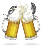 Two mugs with a light beer. Mug with beer. Vector Royalty Free Stock Photography