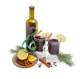 Two mugs with mulled wine, wine, mulling spices, fir branches Royalty Free Stock Images