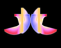 Two Multi-Color Radiant Crosses Royalty Free Stock Images