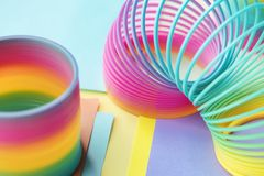 Two Multicolored Slinky Toys Royalty Free Stock Photography