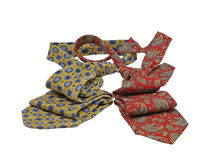 Two multicoloured neckties.Isolated. Royalty Free Stock Photo