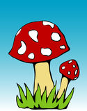 Two mushrooms. Two colorful cartoon-styled fly-agaric mushrooms. Vector (EPS) version is also included Stock Photos