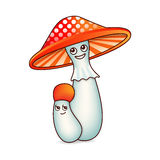 Two mushrooms with eyes Stock Image