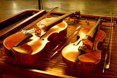 Two music string instrument. In gold light Stock Photography
