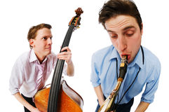 Two musicians performing Royalty Free Stock Image
