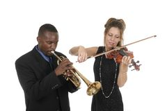 Two Musicians Playing Royalty Free Stock Photography