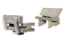 Two muskoka granite benches Stock Photos