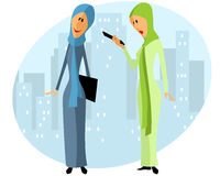 Two muslim businesswomen. Vector illustration of a two muslim businesswomen Royalty Free Stock Photography