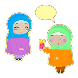 Two Muslim girls. Vector illustration Stock Images