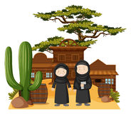 Two muslim girls in western town Royalty Free Stock Images