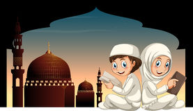 Two muslim kids reading book with mosque background vector illustration