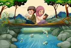 Two muslim kids reading books in forest. Illustration Stock Photography