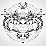 Two mystical winged snakes. A background - the Alchemical circle. Religion, mysticism, occultism, sorcery. Royalty Free Stock Images