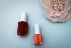 Two nail polish bottles with a flower in a corner on a blue background Royalty Free Stock Images