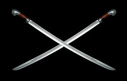 Two naked Circassian cavalry swords on black Stock Image
