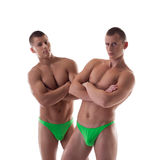 Two naked men with athletic figure isolated Royalty Free Stock Photos
