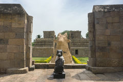 The two Nandi statues at Gangaikunda Temple. Royalty Free Stock Image