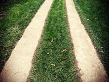 Lomo Road with Lawn. Two narrow paths amidst the lawn, intended for vehicle passage Stock Photos
