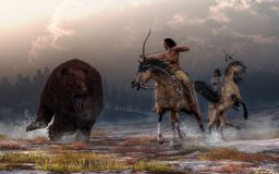 Bear Hunt. Two Native American warriors on the backs of mustangs encounter a massive brown bear on a snowy field under cloud filled evening skies. The lead royalty free illustration