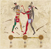Indian war. Two Native Americans are fighting at the bottom knot letter royalty free illustration