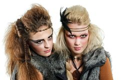 Two native woman. Two women with interesting make-up stock photography