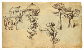 Two natives dancing. A little story from central Africa - Two natives (women) dancing wild dances before the village. Description: drawing consists of at least Stock Photography