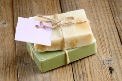 Two natural soap bars with tag Royalty Free Stock Photo