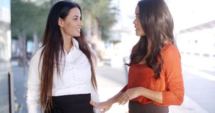 Two natural young woman standing talking stock footage