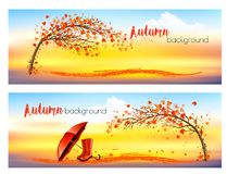 Free Two Nature Autumn Banners With Trees, Umbrella, Rain Boots Royalty Free Stock Image - 161696006
